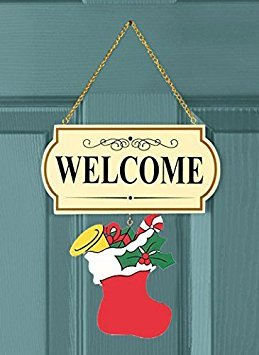 "10 Pieces Set Interchangable Multi Holiday Welcome Sign Decoration Wall Hanging Door Festive Plaque Whimsical Decor - 11 1/2"" L x 4 1/4"" H, Each Design Approx. 4 1/2"" L x 4"" H.by CTD Store"