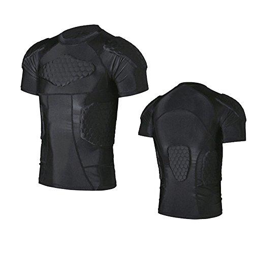 R&V Men's Sports Clothes Shock Rash Guard Compression Pad...