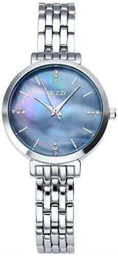 Top Plaza Classic Business Silver Tone Bracelet Watch Seashell Black Dial Japanese Quartz 3 ATM Water Resistant