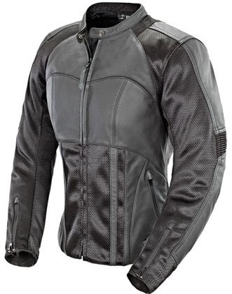 JOE ROCKET LADIES RADAR HYBRID LEATHER MOTORCYCLE JACKET black/black
