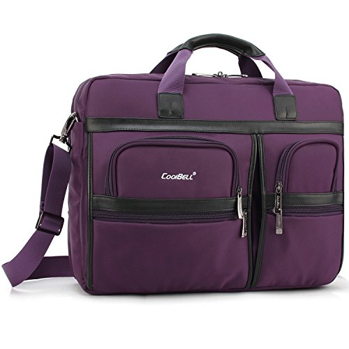 Price comparison product image CoolBELL Laptop Briefcase, 17.3 Inch Protective Messenger Bag Nylon Shoulder Bag Multi-functional Hand Bag For Laptop/Ultrabook/Tablet/Macbook/Dell/HP/Acer/Men/Women/Business (Purple)