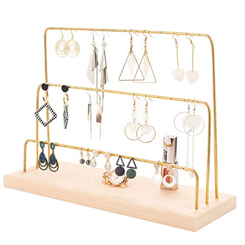 Ear Stud Holder Copper Earring Holder Earring Stand Display Rack Vintage Jewelry Ear Stud Stand Display with Wooden Tray/Dish for Earrings Necklace Bracelet Rings 3 Tiers