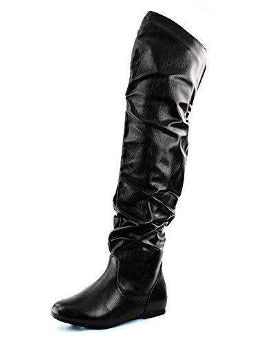 Nature Breeze Women's Vickie Hi Slouchy Over The Knee Boots,9 B(M) US,Black Pu