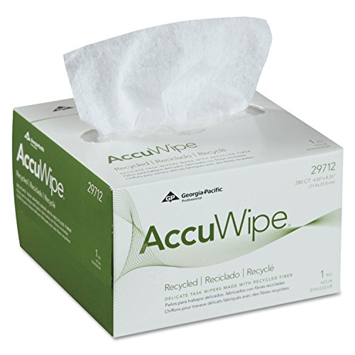 280 Matt (Accuwipe Recycled One-Ply Delicate Task Wipers, 4 1/2 X 8 1/4, White, 280/box)