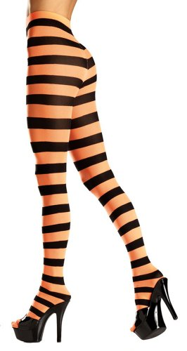 Costume Adventure Women's Black and Orange Witch Striped Pantyhose (Orange And Black Striped Leggings)