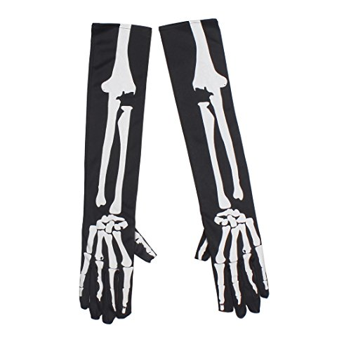 iMucci 17inch Skull Halloween Gloves Costume - Fancy Cosplay Party Costumes for Adult