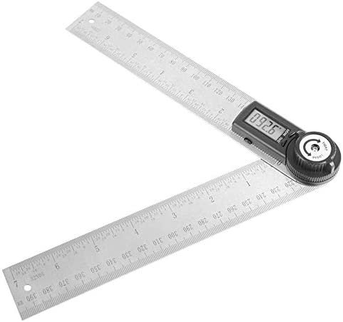 BXU-BG Electronic Angle Calipers 200mm 0-360°,Digital Rotatable Stainless Steel Vernier Caliper Ruler Measuring Tool for Woodworking.