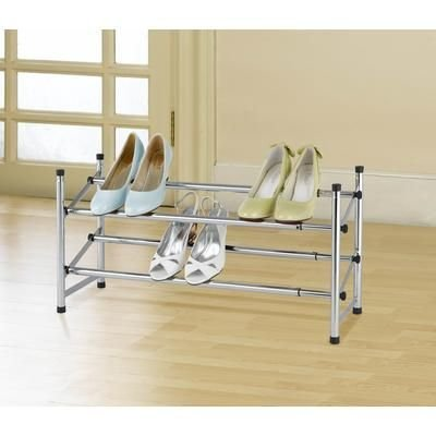 USTECH Adjustable Stackable Chrome Shoe Rack - Stacking Chrome Shoe Rack