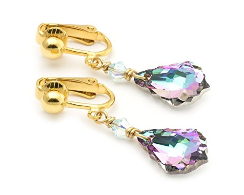 Element Clip Earrings (Pink tiny Swarovski Elements Baroque crystal gold clip on dangle earrings 1.6in)