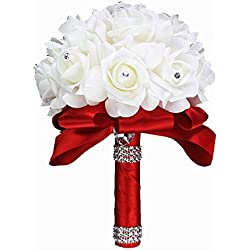 StillCool Wedding Bouquets, Crystal Pearl Silk Roses Bridal Bridesmaid Wedding Hand Bouquet Artificial Fake Flowers (18cm24cm, Red)