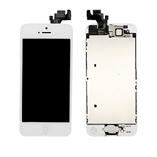 (For iPhone 5 (White) Screen Replacement With Home Button - MAFIX Full Pre-assembly LCD Display Digitizer Touch Screen Kit Include Repair Tools & Screen Protector)