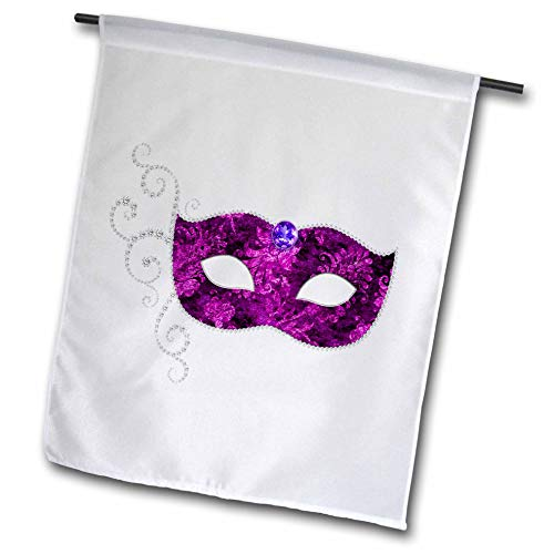 3dRose Anne Marie Baugh - Illustrations - Glam Purple and Silver Color Image of Jeweled Costume Mask Design - 12 x 18 inch Garden Flag (fl_295450_1) -