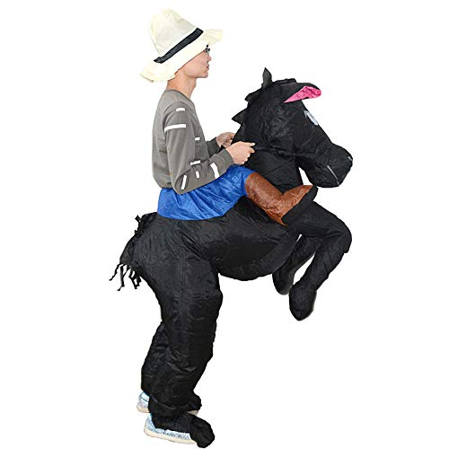 (HHARTS Adult Horse Rider Inflatable Costume Blow Up Cowboy Fancy Dress Costume Suit Halloween Cosplay Party Christmas)