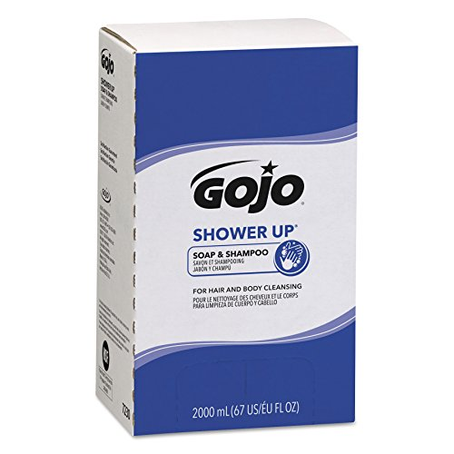 GOJO 7230 Shower Up Soap & Shampoo, Rose Colored, Pleasant Scent, 2000mL Refill (Case of (Spa Bath Body Hair Shampoo)