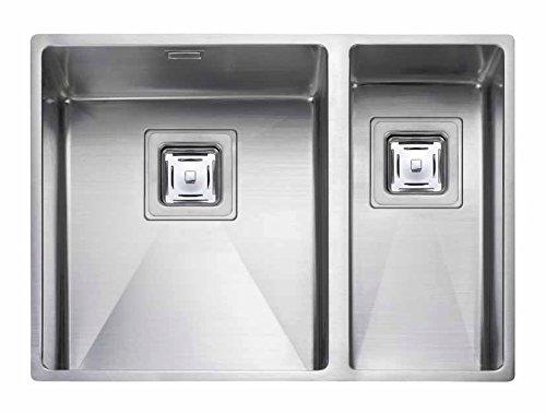 Rangemaster Atlantic Kube Top-Mount Kitchen Sink Rectangular Stainless Steel-Kitchen Sinks (Top-Mount Kitchen Sink, Rectangular, Stainless Steel, Stainless Steel, 2Bowls, Rectangular)