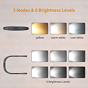 Glocusent LED Neck Reading Light, Book Light for Reading in Bed, 3 Colors, 6 Brightness Levels, Bendable Arms, Rechargeable, Long Lasting, Perfect for Reading, Knitting, Camping, Repairing