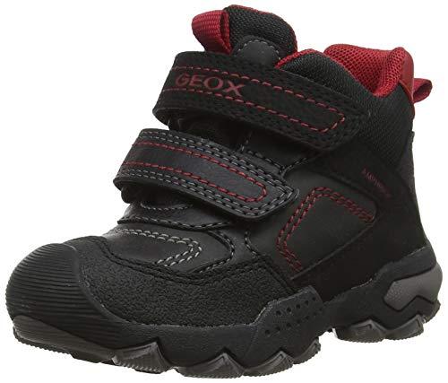 Geox Jungen J BULLER Boy B ABX E Hohe Sneaker, Schwarz (Black/Dk Red C0260), 24 EU 1