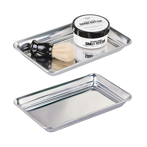 mDesign Metal Storage Organizer Tray for Bathroom Vanity Countertops, Closets, Dressers - Holder for Guest Hand Towels, Watches, Earrings, Makeup Brushes, Reading Glasses, Perfume - 2 Pack - Polished