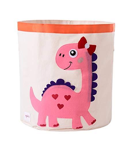 Collapsible Canvas Storage Basket or Bin Toy Organizer for Kids Playroom, Clothes, Children Books, Stuffed Animal (Pink Dinosaur)