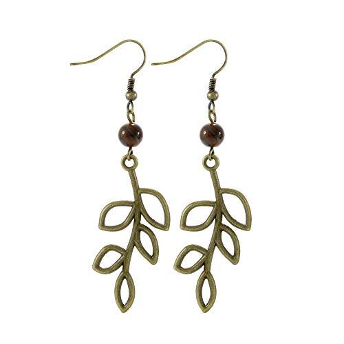 (Tiger Eye Bead Bronze/Brass Tone Olive Tree Branch Leaf Earrings, Handmade Dangle Earring Set )