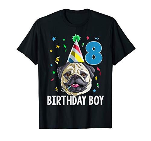 Pug Birthday Boy 8th T Shirt Dog Kids Boys Gift Idea Party -