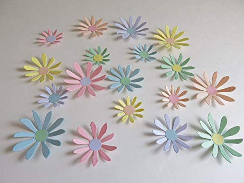 """Pastel Paper Daisy Set of 18 Stickers, 3D Wall Decals, 2-3"""" Floral Accents, Baby Shower Decorations"""