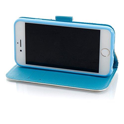 iPhone 6 Coque Tour de fleurs Portefeuille Fermoir Magnétique Supporter Flip Téléphone Protection Housse Case Étui Pour Apple iPhone 6 / 6S + Deux cadeau