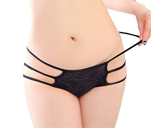 YALL-Ropa interior femenina cinturón de cadera cintura baja permeable de la entrepierna de algodón de seda fina capa de hielo calzoncillos negros Black