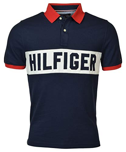 - Tommy Hilfiger Men's Custom Fit Logo Polo Shirt - XL - Navy