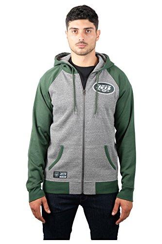 Icer Brands NFL New York Jets Men's Full Zip Fleece Hoodie Sweatshirt Raglan Jacket, X-Large, Gray