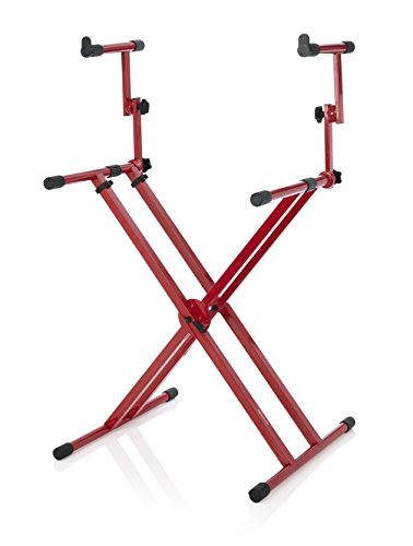 Gator Frameworks Deluxe Two Tier X Frame Keyboard Stand; Bright Red Finish (GFW-KEY-5100XRED)