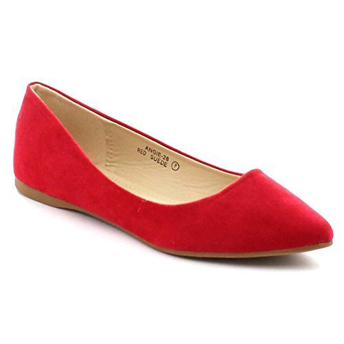 Bellamarie Angie-28 Women's Classic Pointy Toe Ballet Flat Shoes, Color:RED, Size:7.5
