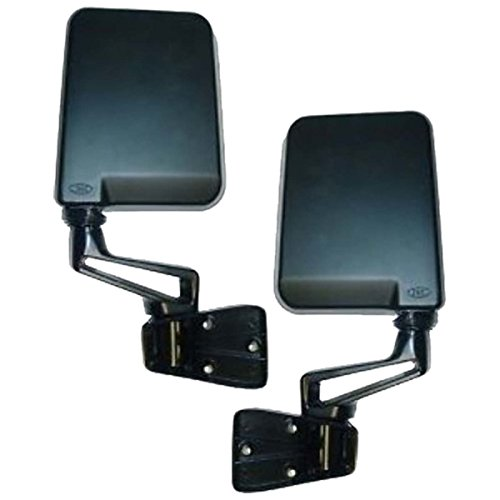 Jeep Wrangler Manual Black Side View Mirrors Pair Set: Left Driver AND Right Passenger (1994 94 1995 95 1997 97 1998 98 1999 99 2000 00 2001 01 2002 02) (Aftermarket Side View Mirrors)