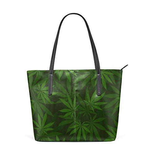 Borsa A Tracolla In Pelle Di Vacchetta Con Motivo Di Cannabis Coosun Per Donna
