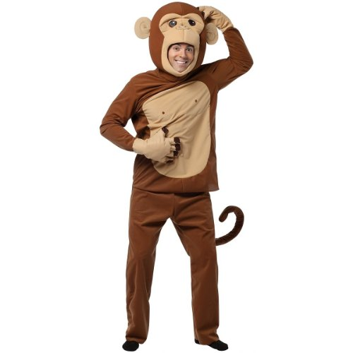Rasta Imposta Monkeying Around Costume, Brown, One Size (Monkey Halloween Costume For Adults)