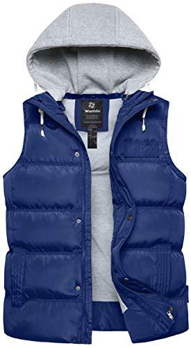 Hooded Winter Vest - Wantdo Women's Hooded Winter Vest Packable Down Puffer Coat Vesr X-Large Blue