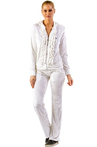 Vertigo Paris Women's Ruffle Velour Lounge Tracksuit Jog Set - White - Large