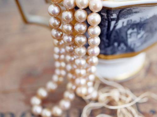 Jewelry Making Supplies - Vintage Glass Pearl Strand 21 inches Long Dark Cream Luster Color Pearls 6mm Knotted Pearls with Long Silk Cords Ends (1 Strand) DA6