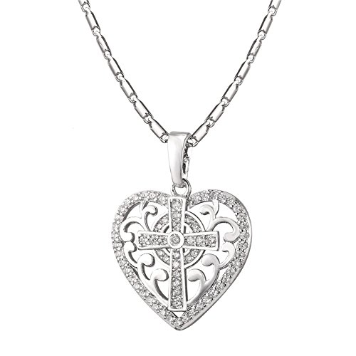 U7 Platinum Plated Chain Scroll Design Cross Heart Pendant Necklace for Women