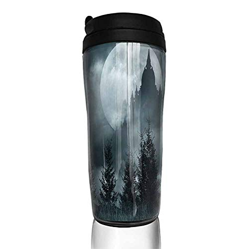 coffee cups with lids 16 oz Halloween,Magic Castle Silhouette over Full Moon Night Fantasy Landscape Scary Forest,Grey Pale Grey 12 oz,shaker cup for coffee]()
