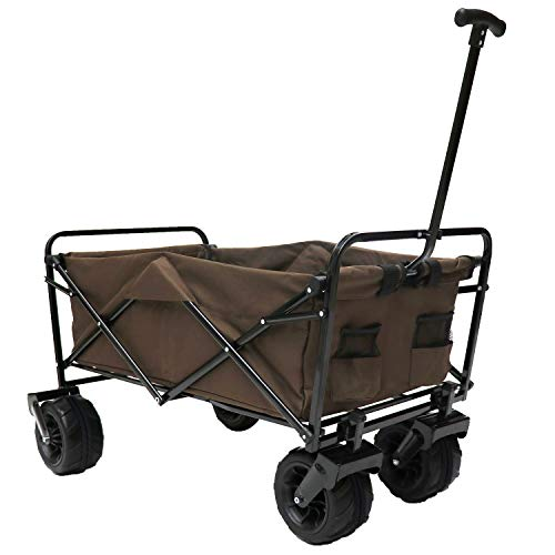 Victoria Young Collapsible Trolley Outdoor Camping Wagon All-Terrain Wheels, Coffee