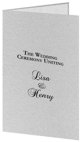 (Silver Metallic Wedding Program Kit, White Parchment Insert, 50 Pack)