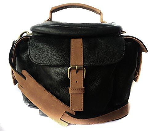 Genuine Leather Bag for Canon EOS 1200D 18MP DSLR Camera  #MN_Black