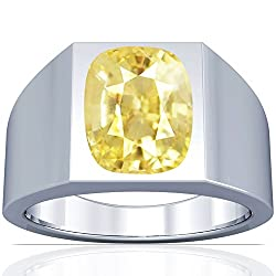 Platinum Cushion Cut Yellow Sapphire Men's Ring