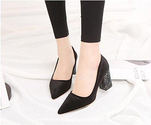 Marée De Unique Femme Nature La Mode Rugueuse Black Chaussures Heel Européens Shoes Pointe Nouvelle Lumière Printemps Chaussures KHSKX Et L'High Et Avec Automne La Américains Faible De c7qO0f4B