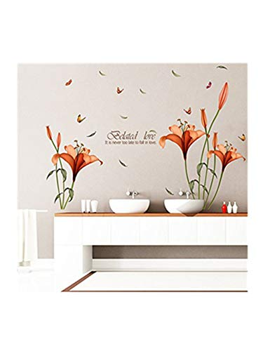 Flower Daffodils Wall Stickers Removable Decal Home Decor DIY Art Decoration (Orange, 120175cm)
