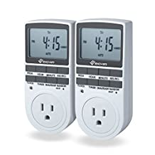 Enover 15A/1800W 7-day Programmable Plug-in Digital Timer Switch with 3-Prong Outlet, Set of 2