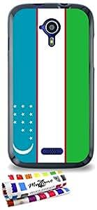 Carcasa Flexible Ultra-Slim WIKO CINK FIVE de exclusivo motivo [Uzbekistan Bandera] [Negra] de MUZZANO  + ESTILETE y PAÑO MUZZANO REGALADOS - La Protección Antigolpes ULTIMA, ELEGANTE Y DURADERA para su WIKO CINK FIVE