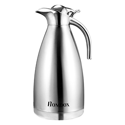 Homdox Stainless Steel Thermal Carafe 68 Oz Unbreakable Double Wall Vacuum Insulated Coffee Pot,2 Liter (Carafe Unbreakable)