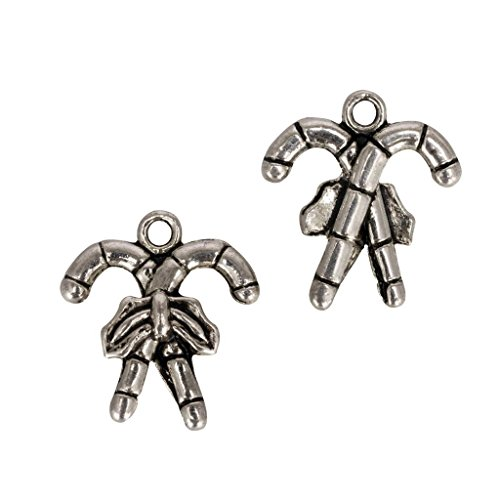 (20 x Holiday Sugar Kane Charms 18mm Antique Silver Tone for Bracelets Necklaces Earrings #mcz1192 )